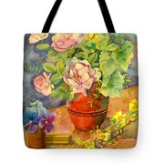 Roses And Pansies Tote Bag by Julia Rowntree