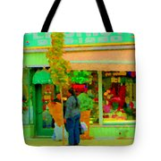 Roses At The Flower Shop Fleuriste Coin Vert Rue Notre Dame Springtime Scenes Carole Spandau Tote Bag