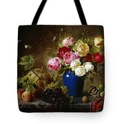 Roses In A Vase Peaches Nuts And A Melon On A Marbled Ledge Tote Bag