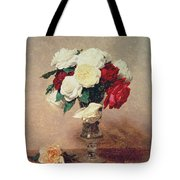 Roses In A Vase With Stem Tote Bag