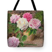 Roses In An Earthenware Vase By A Mossy Tote Bag