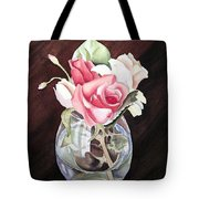 Roses In The Glass Vase Tote Bag