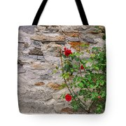 Roses On A Stone Wall Tote Bag