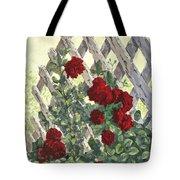 Roses On Lattice Tote Bag