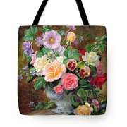 Roses Pansies And Other Flowers In A Vase Tote Bag by Albert Williams