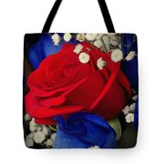 Roses - Red White And Blue Tote Bag