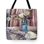 Roses Tulips And Striped Curtains Tote Bag by Julia Rowntree