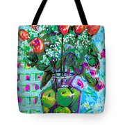Roses With Apples Tote Bag