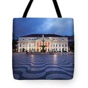 Rossio Square At Night In Lisbon Tote Bag