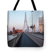 Rotterdam Downtown Skyline At Sunset Tote Bag