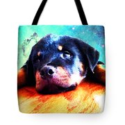 Rottie Puppy By Sharon Cummings Tote Bag