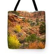 Rough Terrain In Autumn Along Zion-mount Carmel Highway In Zion Np-ut Tote Bag
