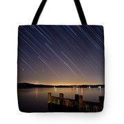 Round Bay Startrails And A Meteor Shower Tote Bag by Benjamin Reed