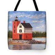 Round Island Light House Tote Bag