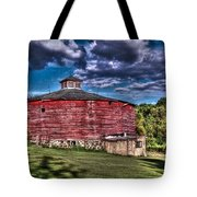 Round Red Barn Tote Bag