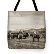 Rounding Up Cattle In Cornville Arizona Sepia Tote Bag