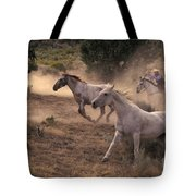 Rounding Up Horses On The Ranch Tote Bag