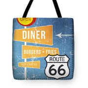 Route 66 Diner Tote Bag by Linda Woods