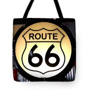 Route 66 Lighted Sign Tote Bag