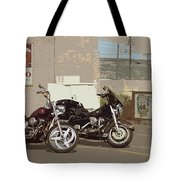 Route 66 Motorcycles With A Dry Brush Effect Tote Bag