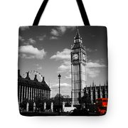 Routemaster Bus On Black And White Background Tote Bag