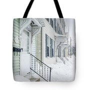 Row Houses On A Snowy Day Tote Bag by Edward Fielding
