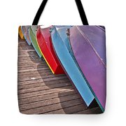 Row Of Colorful Boats Art Prints Tote Bag
