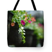 Row Of Hanging Baskets Shallow Dof Tote Bag