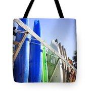 Row Of Kayaks Tote Bag