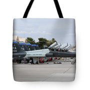Row Of T-38c Trainer Jets At Nellis Air Tote Bag