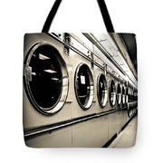 Row Of Washing Machines In Laundromat Tote Bag