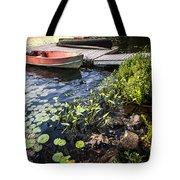 Rowboat At Lake Shore At Dusk Tote Bag by Elena Elisseeva