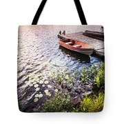 Rowboat At Lake Shore At Sunrise Tote Bag