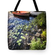 Rowboat At Lake Shore Tote Bag