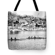 Rowing Along The Schuylkill River In Black And White Tote Bag