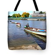 Rowing On The River - Irish Art By Charlie Brock Tote Bag