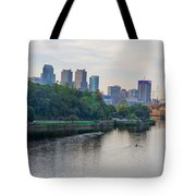 Rowing On The Schuylkill Riverwith Philadelphia Cityscape In Vie Tote Bag