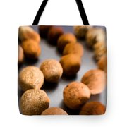 Rows Of Chocolate Truffles On Silver Tote Bag