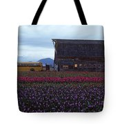 Rows Of Multi Colored Tulips In Field With Old Barn And Yellow B Tote Bag