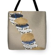 Rows Of Parasols On The Beach Of Tote Bag