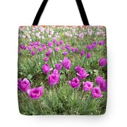 Rows Of Pink And Purple Tulip Flowers Tote Bag