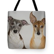 Roxie And Bruno The Greyhounds Tote Bag