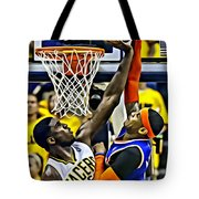 Roy Hibbert Vs Carmelo Anthony Tote Bag by Florian Rodarte