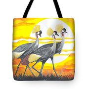 Royal Cranes From Rwanda Tote Bag