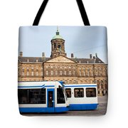 Royal Palace And Trams In Amsterdam Tote Bag