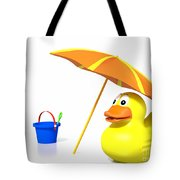 Rubber Duck At The Beach Tote Bag