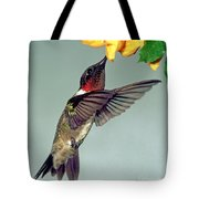 Ruby-throated Hummingbird Male At Flower Tote Bag