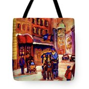 Rue St. Paul Old Montreal Streetscene In Winter Tote Bag