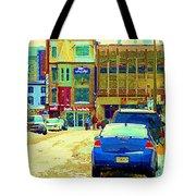 Rue Stanley Cafe Bistro La Marinara Italian Resto Asm Acting School Downtown Montreal Urban Scenes   Tote Bag