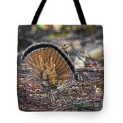 Ruffed Grouse Rear Strut Tote Bag